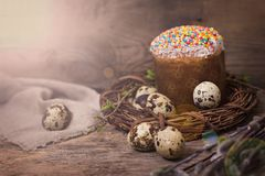 Easter table. Easter table decoration, pies, eggs, Easter cake, rabbit, seals, spring bouquet. Easter still life. The inscription \'Happy Easter stock images