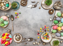 Easter table decoration with space for text Royalty Free Stock Photos