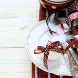 Easter table decoration in white and brown colors Royalty Free Stock Image