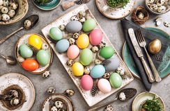 Easter table place setting decoration colorful eggs Royalty Free Stock Photos