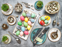 Easter table place setting decoration eggs retro Stock Photos