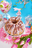 Easter table with ring cake Royalty Free Stock Photo
