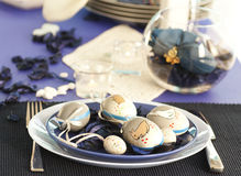 Easter table setting in blue and white Stock Image