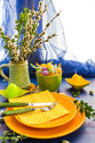 Easter table setting bunch willow catkins. Easter table setting with a bunch of willow catkins stock image