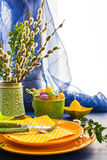 Easter table setting bunch willow catkins Stock Photo