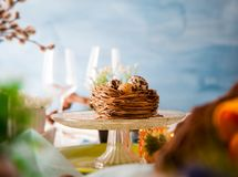 Easter table setting. Cutlery on table. Spring table setting stock image