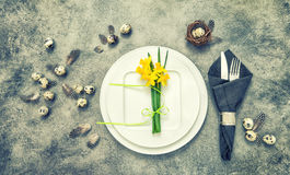Easter table setting decoration eggs flowers vintage Royalty Free Stock Images