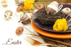 Easter table setting Stock Photos