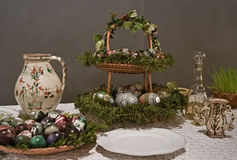 Easter table setting with eggs Royalty Free Stock Image