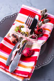 Easter table setting with eggs and willow branch. Holidays background Royalty Free Stock Photos