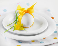Easter table setting with flower Royalty Free Stock Photo