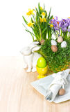 Easter table setting flowers, bunny, eggs decoration Stock Photos