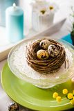 Easter table setting. Cutlery on table. Spring table setting stock images