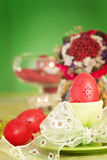 Easter table setting in green and red stock images