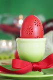 Easter table setting in green and red Royalty Free Stock Photography