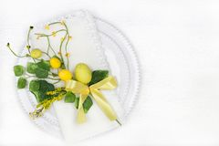 Easter table setting with holiday decor. Background Stock Photo