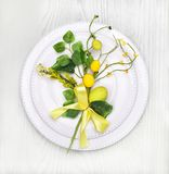 Easter table setting with holiday decor Royalty Free Stock Photo