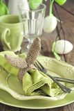 Easter table setting. Holiday Decorations. Easter table setting. Holiday Decoration with Burlap bunny napkin ring royalty free stock image