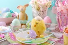 Easter table setting for kids in pastel colors Stock Images