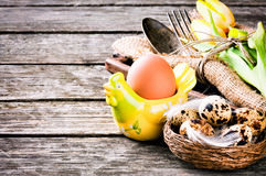 Easter  table setting with quail eggs Royalty Free Stock Photos