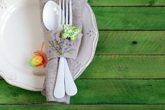 Easter table setting in a rustic style Royalty Free Stock Photography