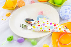 Easter table setting silverware wrapped napkin Royalty Free Stock Images