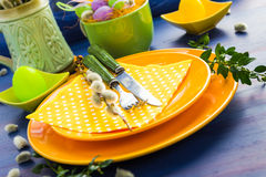 Easter table setting sprig pussy willow Stock Images