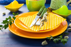 Easter table setting sprig pussy willow Royalty Free Stock Photography