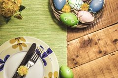 Easter table setting with spring flowers royalty free stock photos