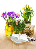 Easter table setting with spring flowers and eggs Royalty Free Stock Image