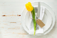 Easter table setting. White wood background, copy space Stock Photo