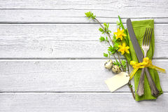 Free Easter Table Setting With Daffodil And Cutlery Stock Images - 83936074