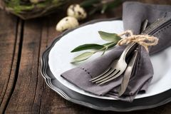 Easter Table Setting With Plate And Silverware