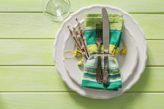 Easter table setting on wood background. Top view Stock Photos