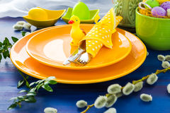 Easter table setting yellow duck Royalty Free Stock Image