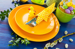 Easter table setting yellow duck Stock Photography