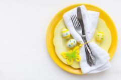 Easter dinner concept with a plate and decor stock photos