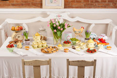 Easter table settings Royalty Free Stock Photo