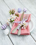 Easter table settings with fresh blossom Stock Photo