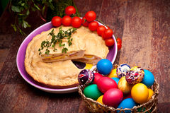Easter Table With Stuffed Pie And Eggs Royalty Free Stock Image