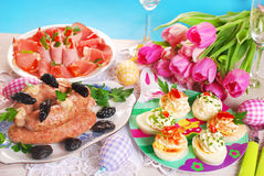 Easter table with traditional dishes Stock Images