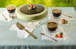 Free Easter Table With Tea Matcha Cheesecake And Black Coffee On Background Of Green Grass Royalty Free Stock Photo - 50103045