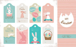 Easter tag collection with bunnies and Easter eggs. Happy Easter Royalty Free Stock Photo
