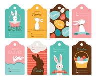 Easter tag collection with bunnies and Easter eggs. Happy Easter Stock Images