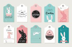 Easter tag collection with bunnies and Easter eggs. Happy Easter vector illustration Royalty Free Stock Photography