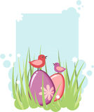 Easter tag with eggs and chicken Royalty Free Stock Photos