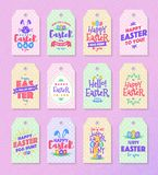 Easter tag set colorfull typography style for sale, party vector illustration