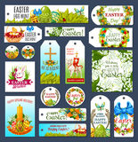 Easter tag set with Egg Hunt rabbit and flowers Royalty Free Stock Images