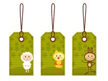 Easter tags with chicken, sheep and rabbit Royalty Free Stock Image