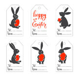Easter tags with cute bunnies. Hand-drawn  festive set. Happy Easter! Set of  tags with cute Easter bunny Royalty Free Stock Photo